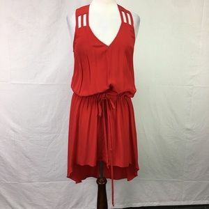 Mason Red V Neck Sleeveless High/Low Silk Dress